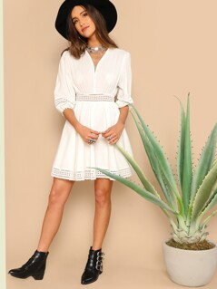 Wrap Front Eyelet Embroidered Dress