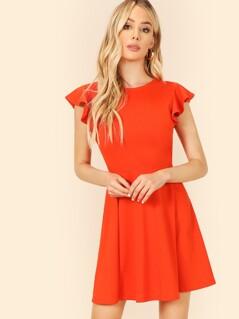 Flutter Sleeve Skater Dress