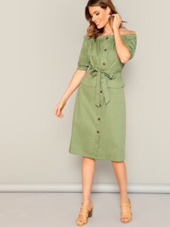 Button Through Flap Pocket Belted Bardot Dress