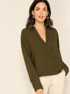 Drop Shoulder Pocket Front Buttoned Wrap Top