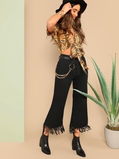 Fringe Detail Solid Flare Pants