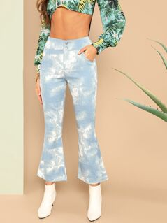 Buttoned Slant Pocket Tie Dye Flared Pants
