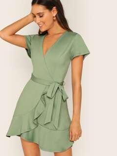 Surplice Neck Wrap Ruffle Hem Belted Dress