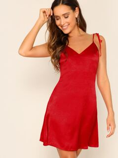 Criss-cross Backless Knotted Satin Slip Dress