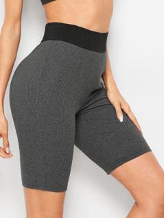Contrast Waist Rib-knit Skinny Shorts