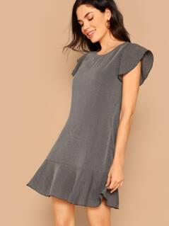 Flounce Sleeve Ruffle Hem Striped Dress