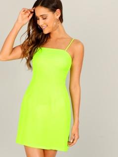 Neon Yellow Bodycon Slip Dress