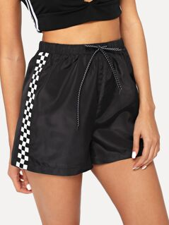 Checked Panel Drawstring Shorts