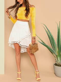 Wide Waist Tassel Detail Wrap Skirt