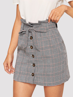 Waist Belted Single Breasted Plaid Skirt