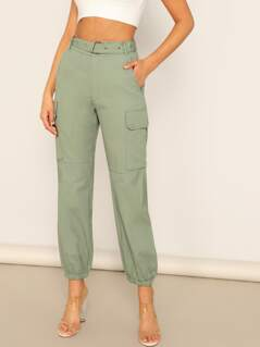Adjustable Belted Solid Cargo Pants