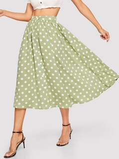 Button Up Polka Dot Swing Skirt
