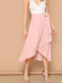 Waist Knot Asymmetrical Hem Solid Skirt