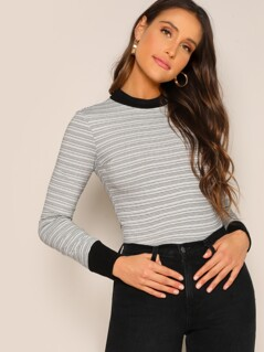 Striped Form Fitting Contrast Tee