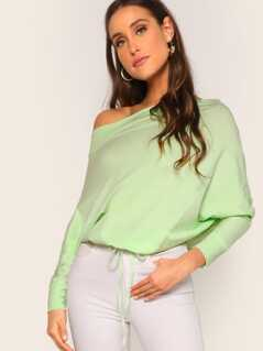 Solid Knotted Hem Batwing Sleeve Tee