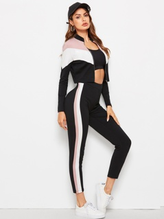 Zip Up Cut-and-sew Chevron Jacket & Leggings Set