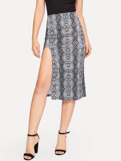 Split Hem Snakeskin Skirt