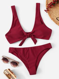 Knot Front Top With Low Waist Bikini Set