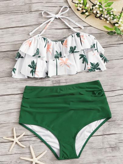 86e1825c25 Random Tropical Ruffle Top With High Waist Bikini | SHEIN UK