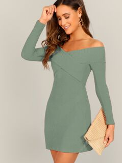 Off Shoulder Cross Over Rib-knit Pencil Dress