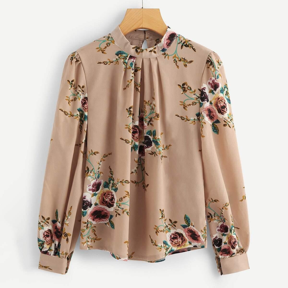 Veel kleurig Casual Bloemen Grote maten blouses