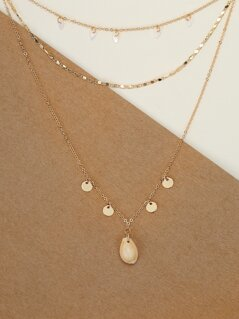Puka Shell And Mini Disc Layered Chain Necklace