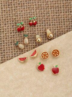 Six Pairs Of Fruit Stud Back Earrings