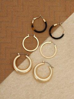 Triple Set Gold Tone And Tortoise Hoop Earrings