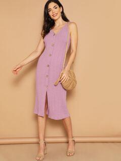 V-Neck Button Detail Front Slit Knitted Midi Dress
