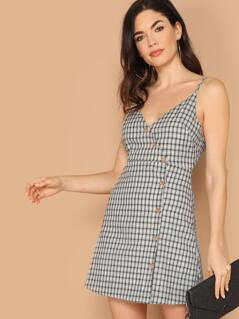 V-Neck Asymmetric Button Front Plaid Mini Dress