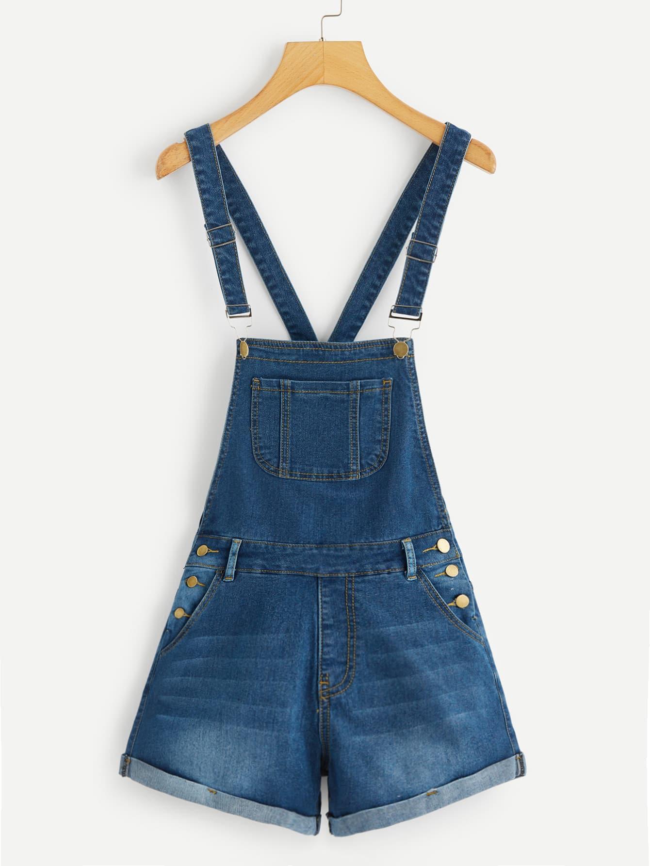 Выбеленный джинсовый сарафан с карманом SheIn