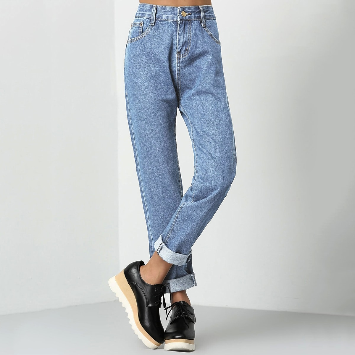 Opgerolde mom jeans