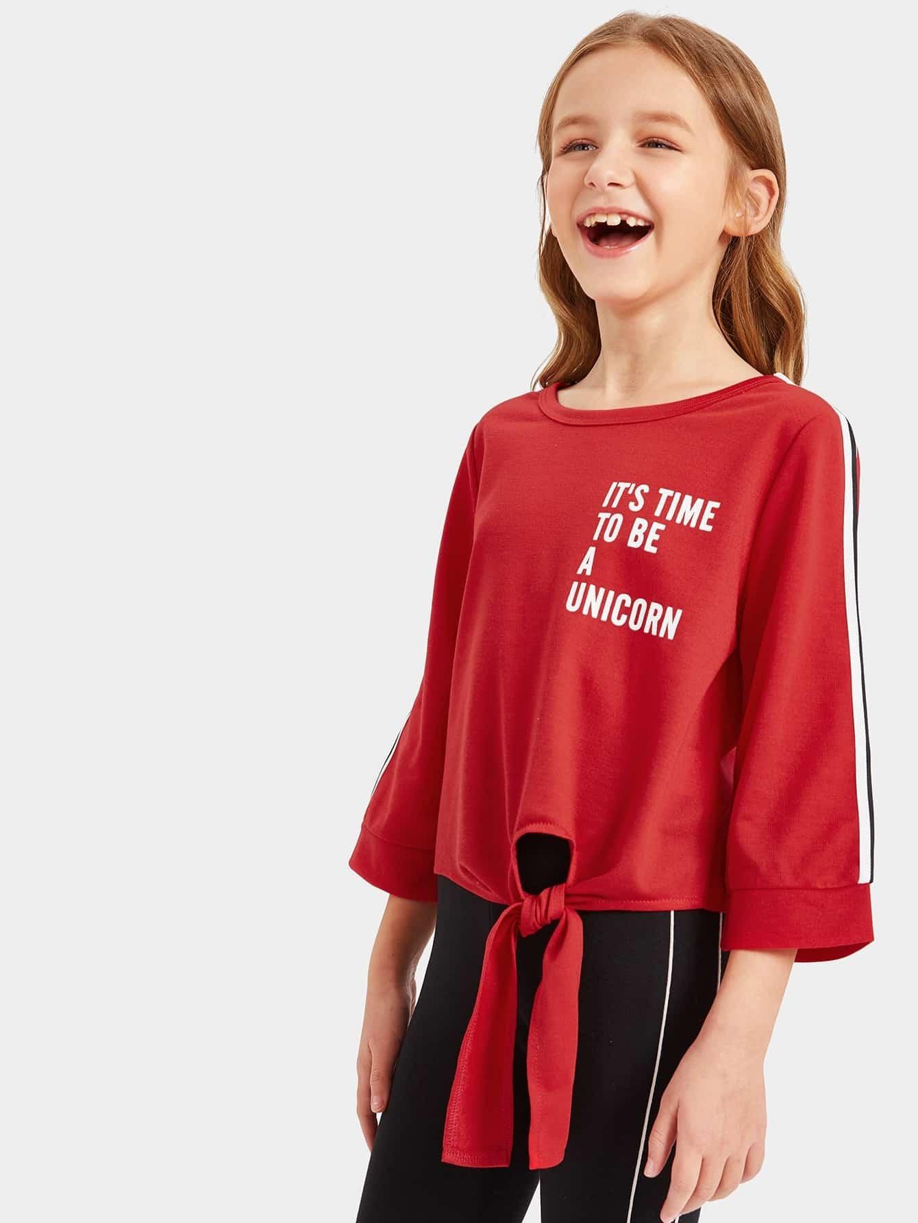 Купить Топ с полосатым рукавом и текстовым принтом и узелом и леггинсы комплект для девочек, Sashab, SheIn