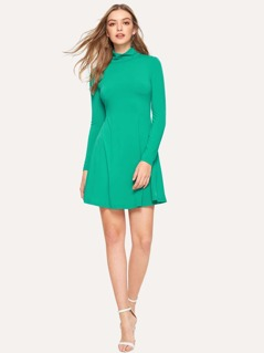 High Neck Swing Solid Dress