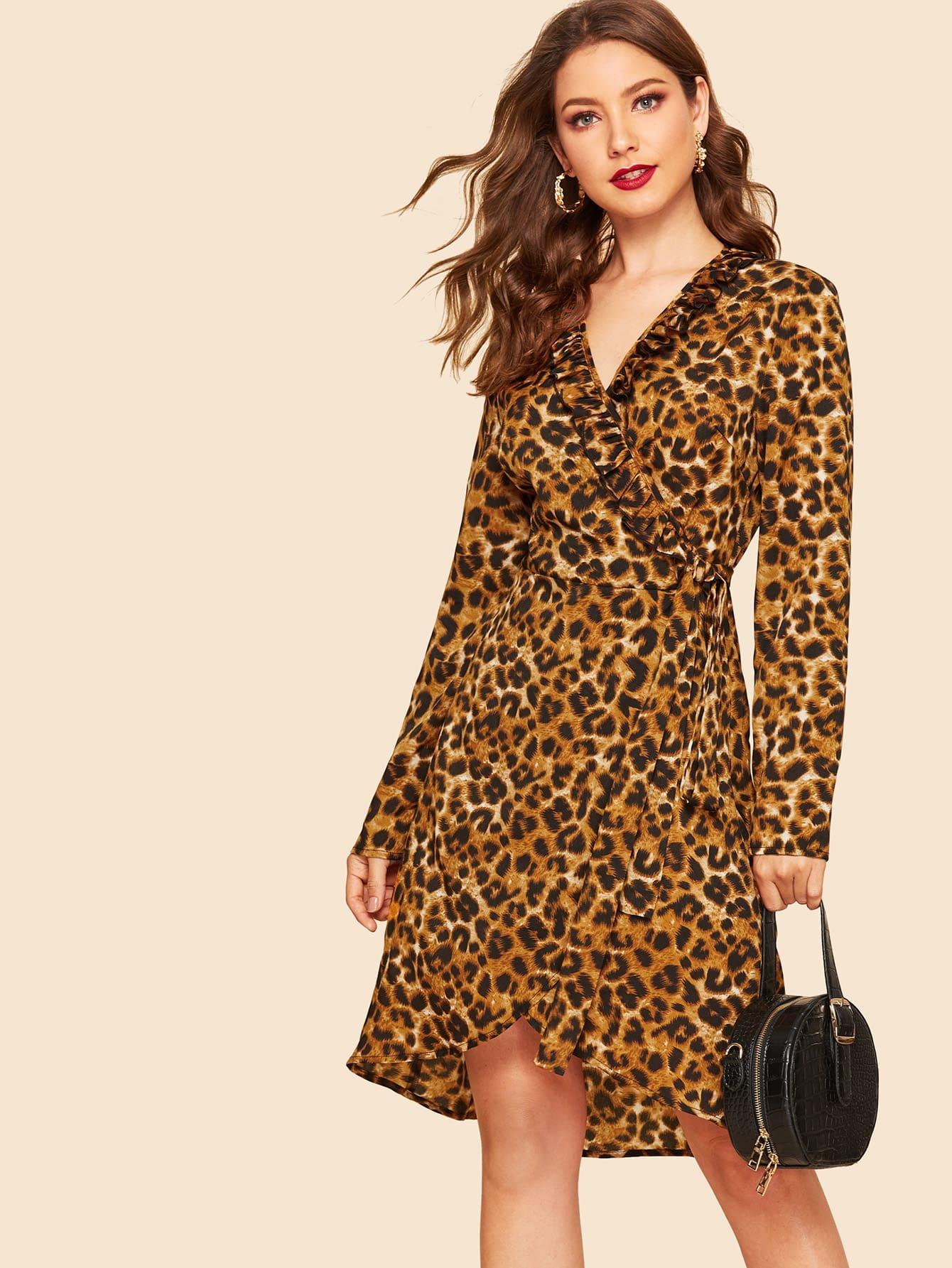 Купить 80s леопардовое платье на запах со складкой, Debi Cruz, SheIn