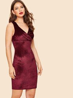 Slit Back Surplice Velvet Bodycon Dress