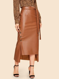 60s Double Button Asymmetrical Hem Belted Leather Look Skirt