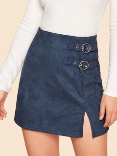 Buckle Strap Detail Split Suede Skirt