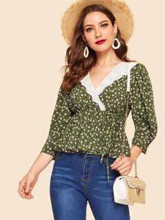 40s Eyelet Embroidered Collar Floral Wrap Peplum Top