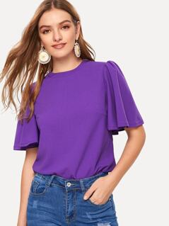 Butterfly Sleeve Zip Back Top