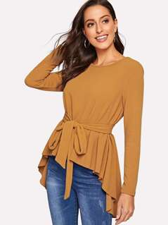 Self Belted Dip Hem Top