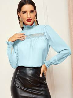 Frilled Neck Guipure Lace Insert Top