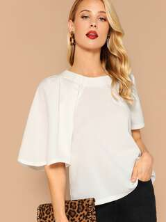 One Side Pleated Sleeve Top