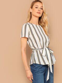 Waist Belted Stripe Top