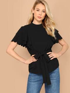 Scallop Trim Layered Sleeve Belted Blouse