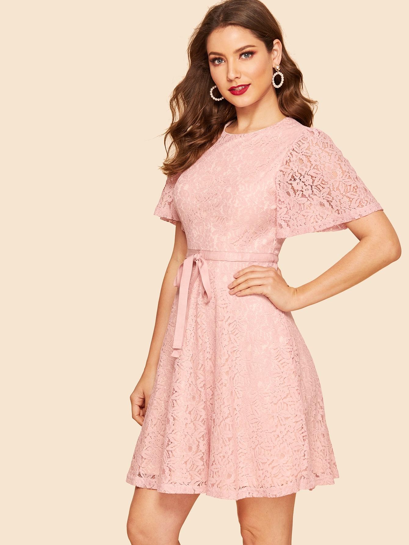 Купить 50s платье с цветочным кружевом и узелом, Debi Cruz, SheIn