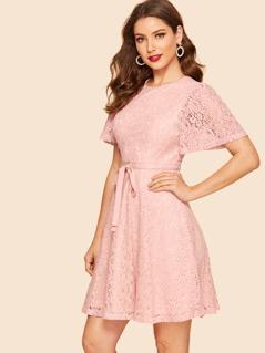 50s Ribbon Tie Floral Lace Dress