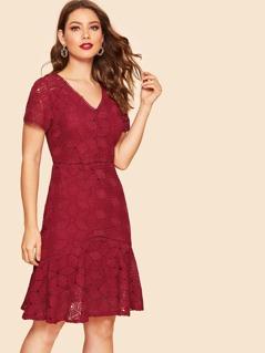 Guipure Lace Ruffle Hem Dress