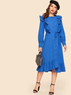 Single Breasted Ruffle Trim Asymmetrical Belted Dress