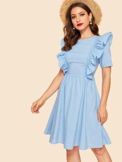 Zip Back Ruffle Detail Solid Dress
